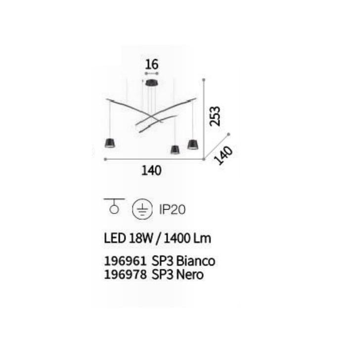 wisząca fish sp3 Lampa IDEAL LUX