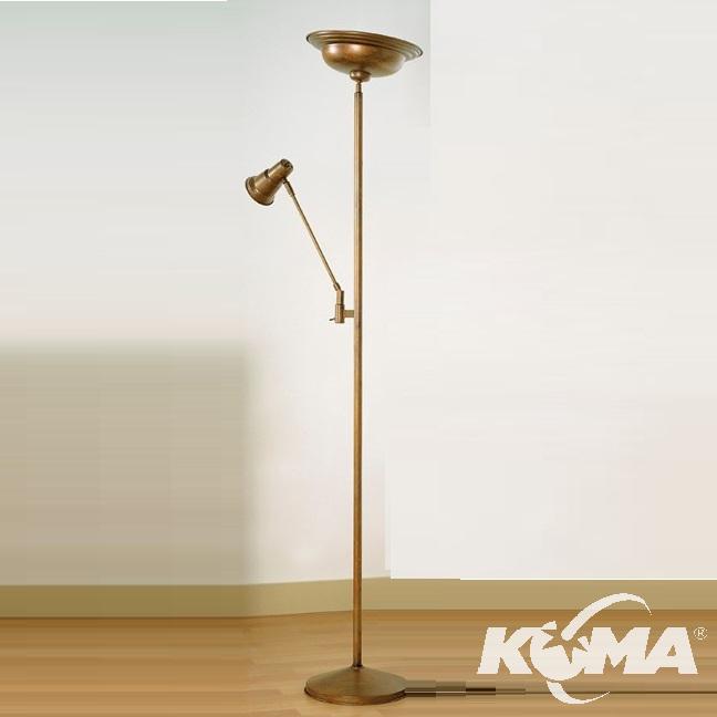3007 lampa podłogowa E27  r80 23w+r7s 140W mosiądz