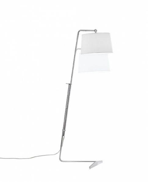lampa podlogowa E27/100W chrom/bialy abazur Mia CARPYEN