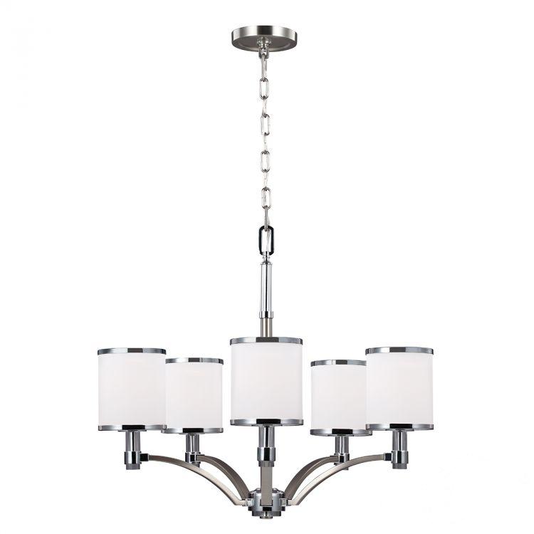 Prospect Park lampa wisząca 5x60W E27 230V satynowany nikiel-chrom