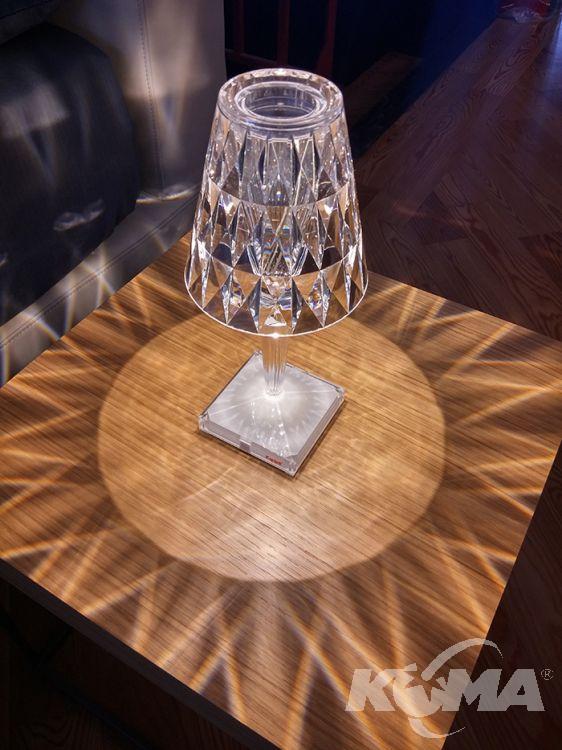 Battery lampa stołowa 1x0.8w led 22cm kryształowa