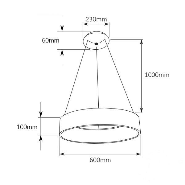 Pulsano lampa wisząca 37W LED 3000K 230V biała