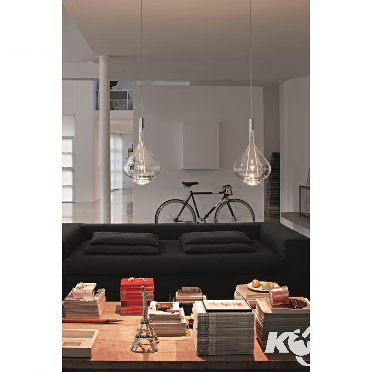 Sky-Fall lampa wisząca 36cm. 2x10W LED 230V transparentna-chrom
