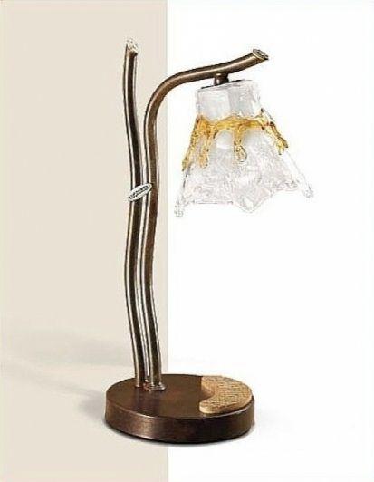 Glamour lampka stołowa 1x60W E14 brąz/cristal