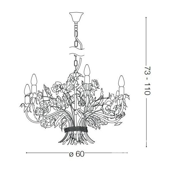 Camilla lampa wisząca żyrandol 6x40W E14 230V