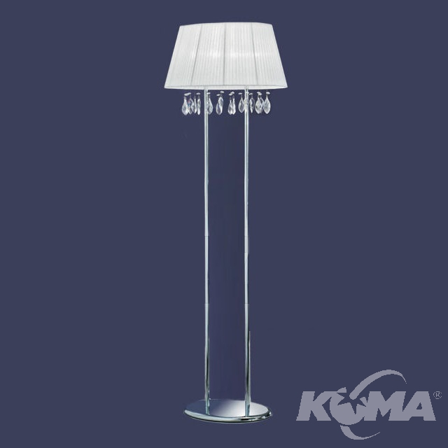 Organza lampa podłogowa 4x40W E14 230V chrom + biały abażur