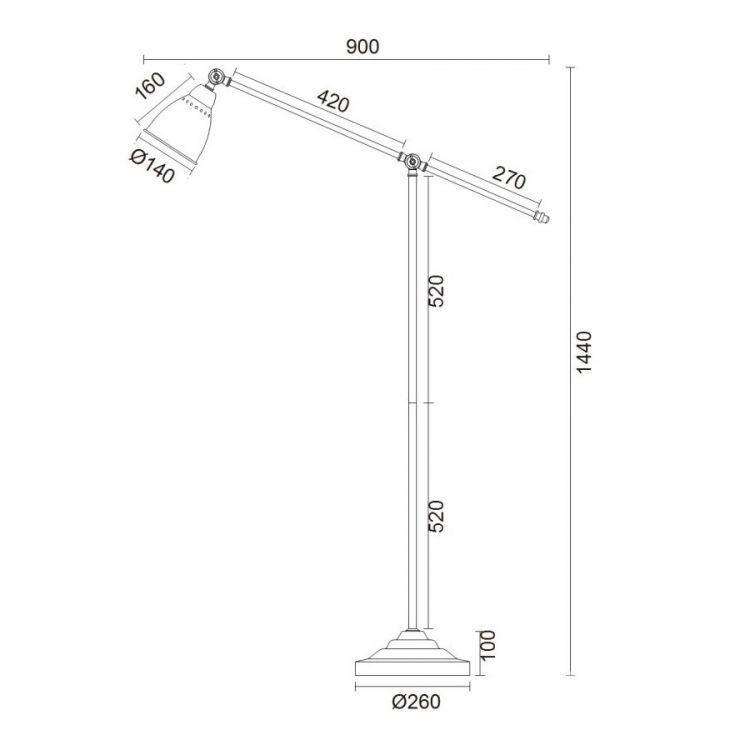 Domino lampa stojąca 1x40W E27 230V nikiel