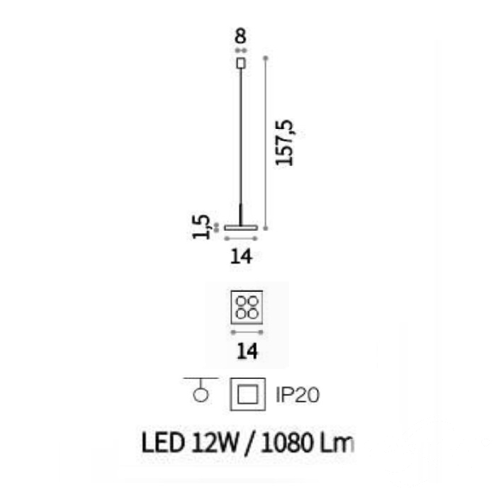 sp4 square lampa wisząca biała Garage IDEAL LUX