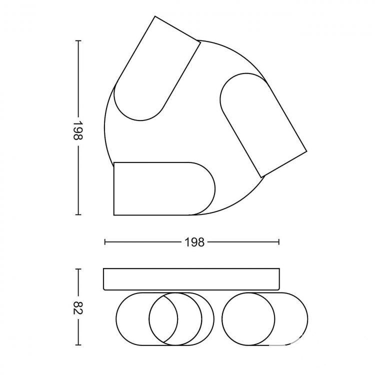 Pongee plafon-reflektor 3x10W GU10 230V biały