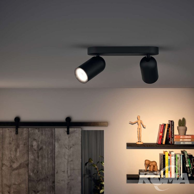 Pongee listwa sufitowa-reflektor 2x10W GU10 230V czarny