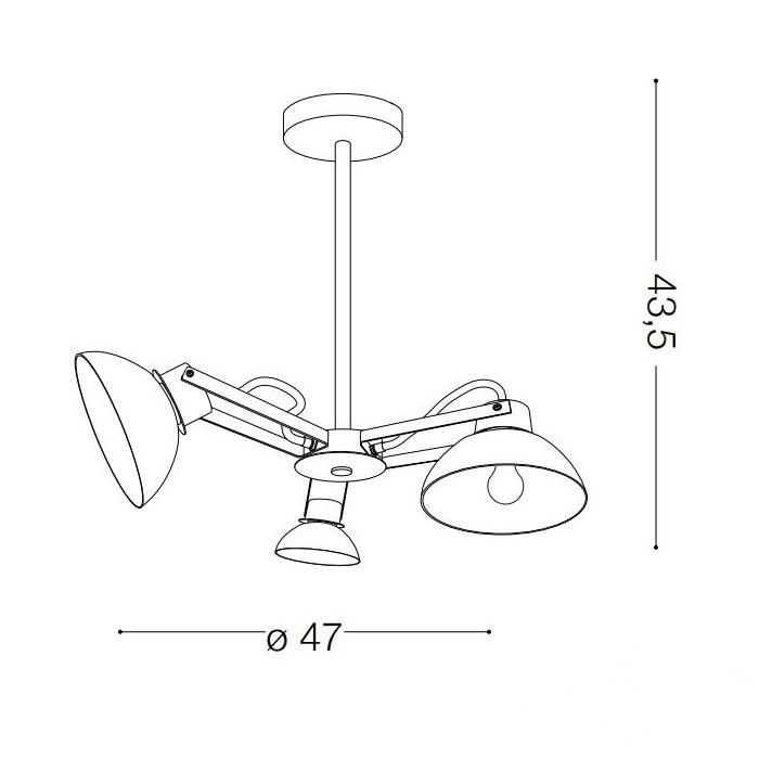 Titti lampa sufitowa 3x60W E27 230V wielokolorowa