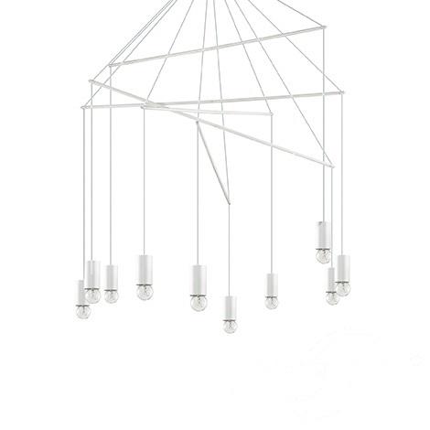 Pop lampa wisząca 10x60W E27 230V biała