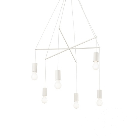 Pop lampa wisząca 6x60W E27 230V biała