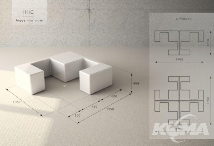 Hhc happy hour cross modul/fotel/stolik 134.9x134.9 nude neutral
