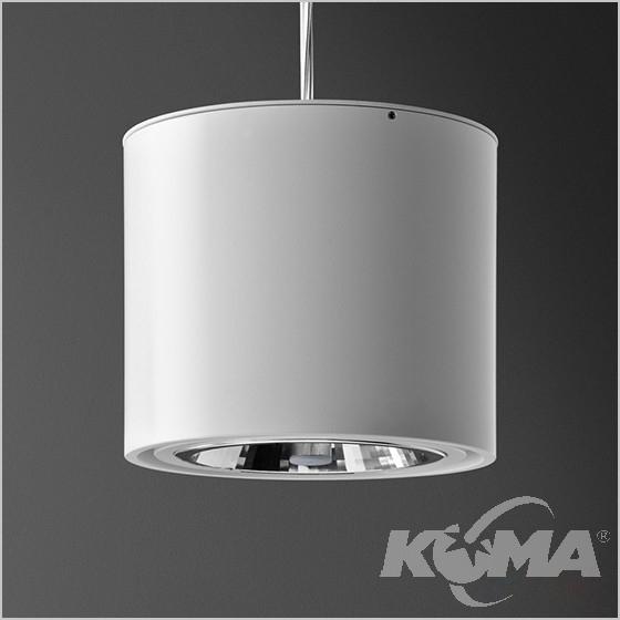 Tuba lampa wisząca biała (mat) 1x50W AR111 230V