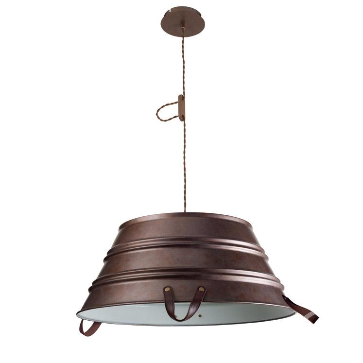 Bucket lampa wisząca 3x60W E27 60cm starzony brąz/kremowy