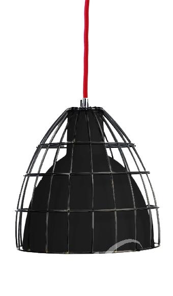 Frame l lampa wisząca 1x60W E27 37.5cm czarny/czarny/czerwony