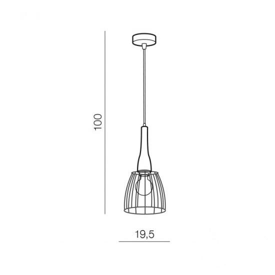 Terata lampa wisząca 1x60W E27 230V czarna/drewno