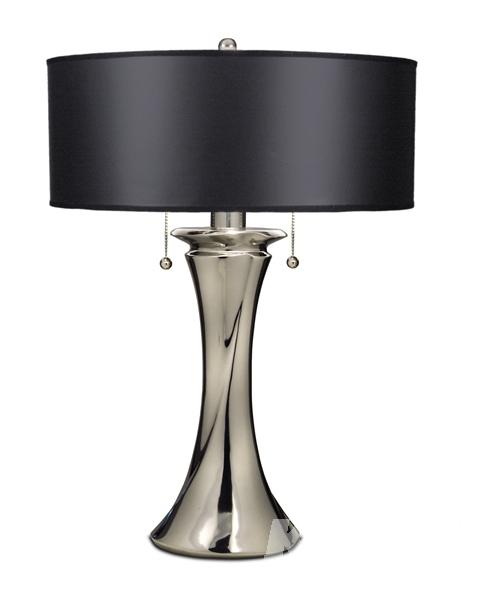 Manhattan lampa stołowa 2x60W E27 h66cm nikiel polerowany/czarny abażur