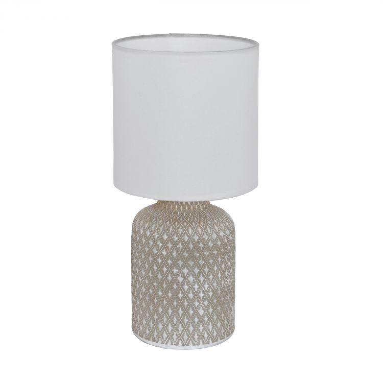 lampa stołowa szara ceramiczna biały abażur Bellariva EGLO
