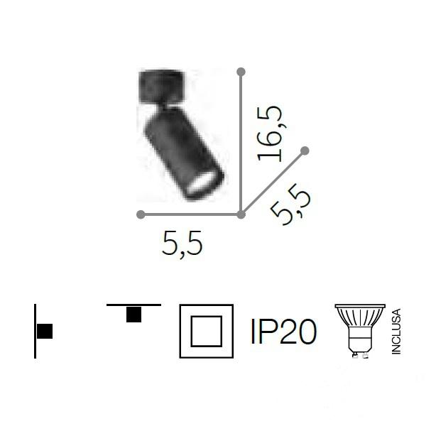 pl1 reflekor natynkowy biały Dynamite IDEAL LUX