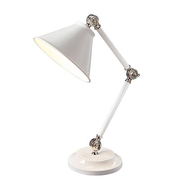 Provence lampa stołowa 1x60W E27 230V biała/mosiądz