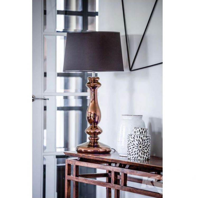 Louvre Lampa Stolowa 1x60w E27 230v Miedziana Czarno Bialy Abazur