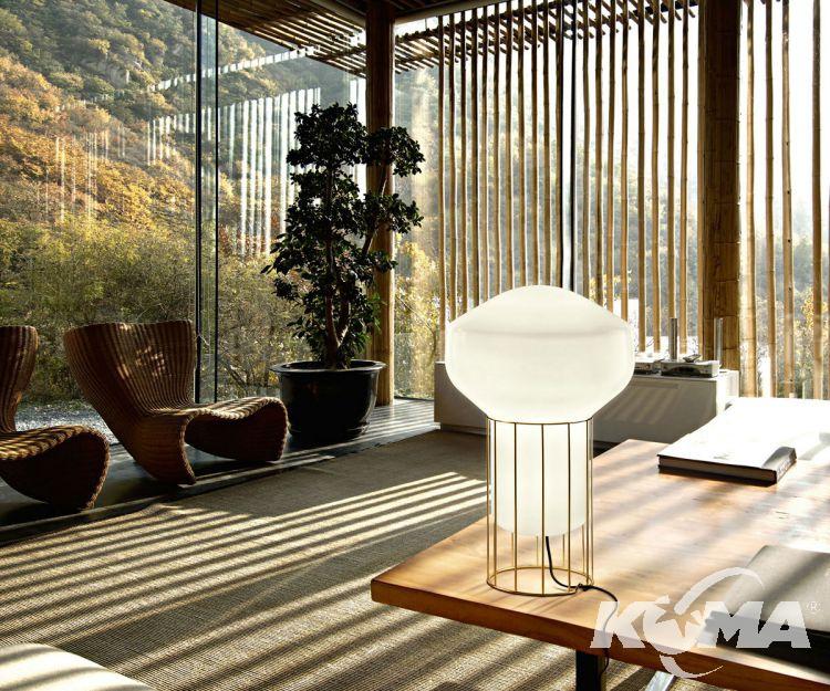 Aerostat lampa stołowa E14 1x60W czarny chrom/biały