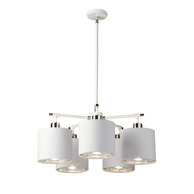 Balance lampa wisząca 5x60W E27 230V biała/nikiel