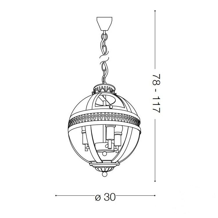 World lampa wisząca 3x40W E14 230V chrom