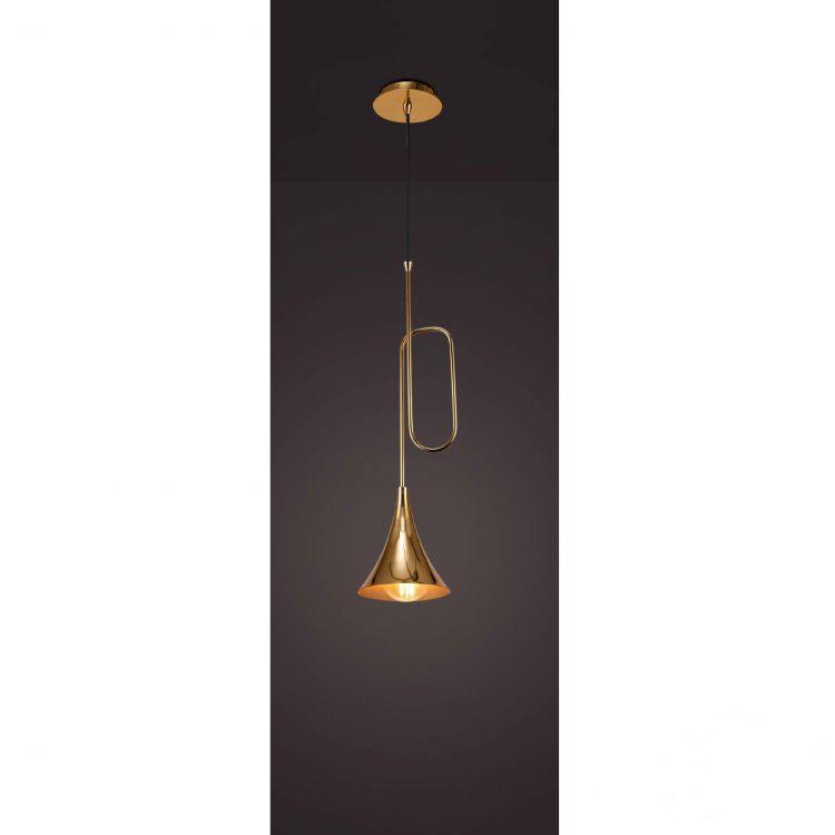 Jazz lampa wisząca 1x20W E27 230V złota-czarny przewód