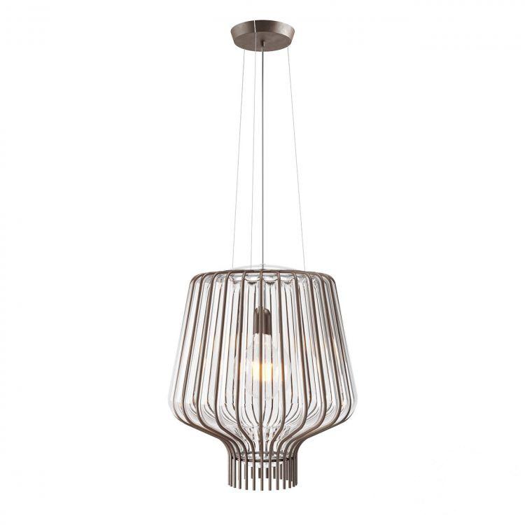 Saya lampa wisząca 1x150W E27 230V brąz/transparentny klosz
