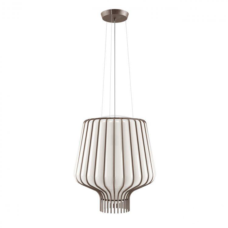 Saya lampa wisząca 1x150W E27 230V brąz/biały klosz