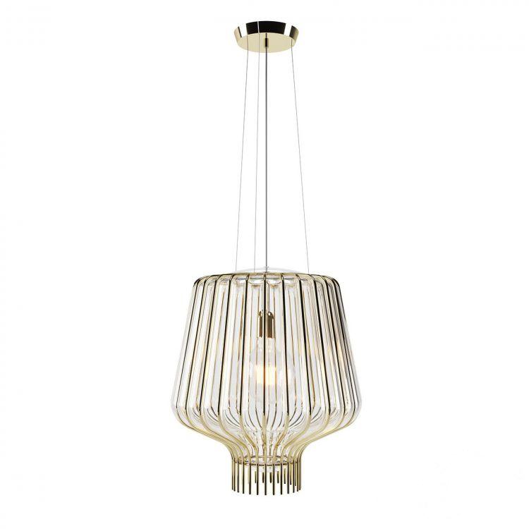 Saya lampa wisząca 1x150W E27 230V złota/transparentny klosz