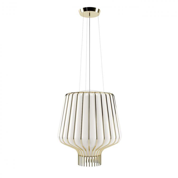 Saya lampa wisząca 1x150W E27 230V złota/biały klosz
