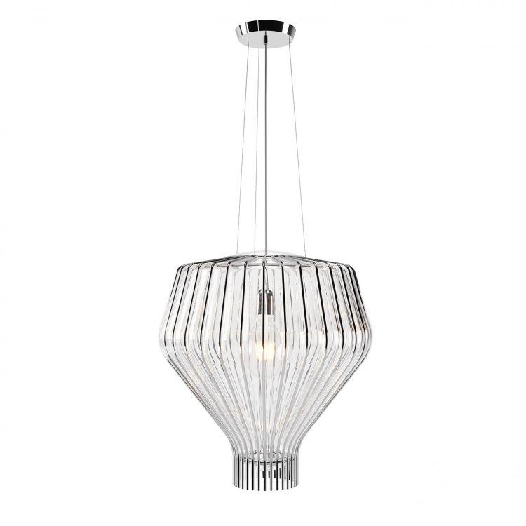 Saya 48 lampa wisząca 1x150W E27 230V chrom/transparentny klosz