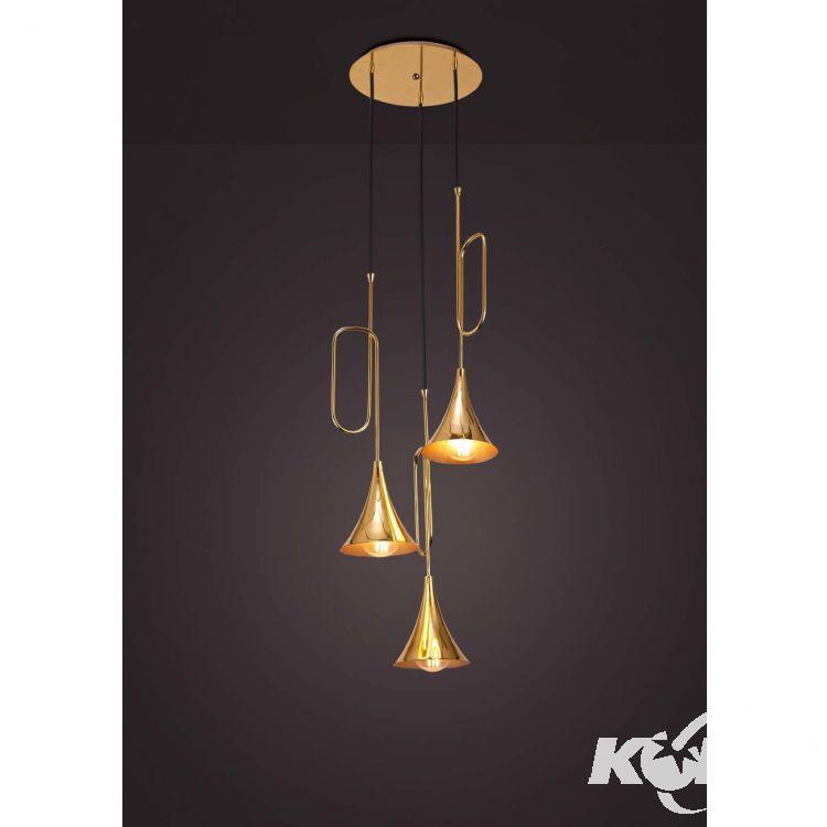 Jazz lampa wisząca 3x20W E27 230V złota-czarny przewód