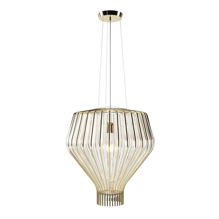 Saya 48 lampa wisząca 1x150W E27 230V złota/transparentny klosz