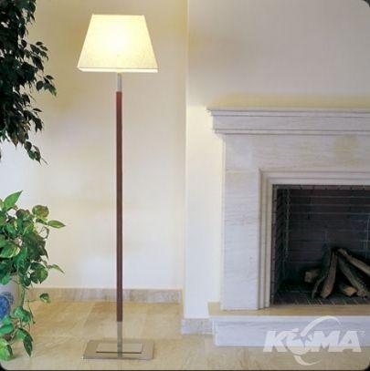 Tau pie lampa podlogowa 1x60W E27 nikiel/skora ciemny braz/bawelna