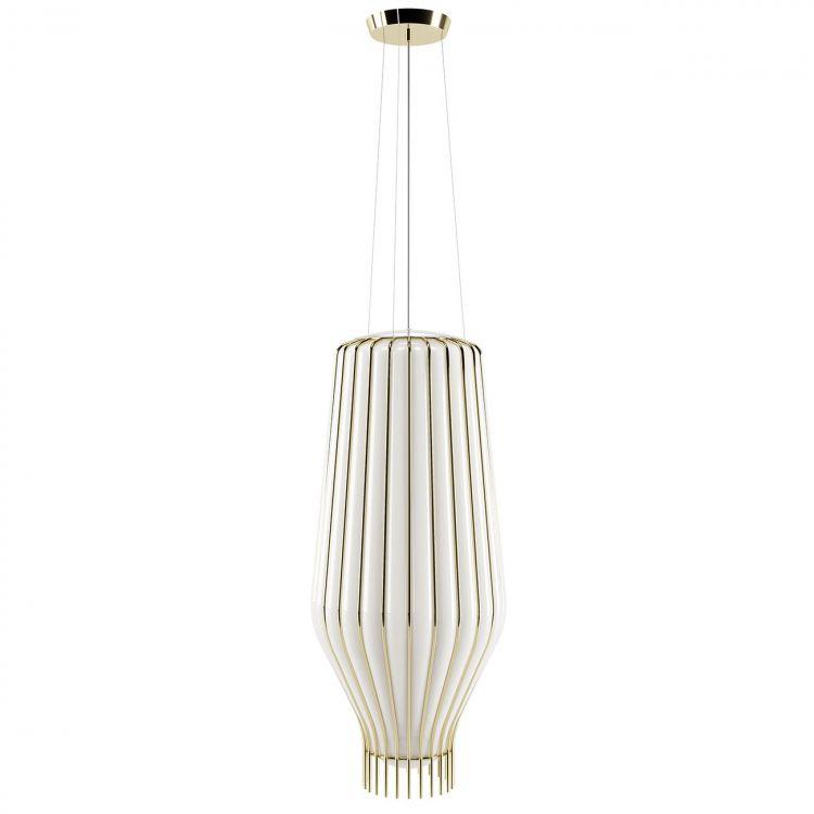 Saya 31 lampa wisząca 1x150W E27 230V złota/biały klosz
