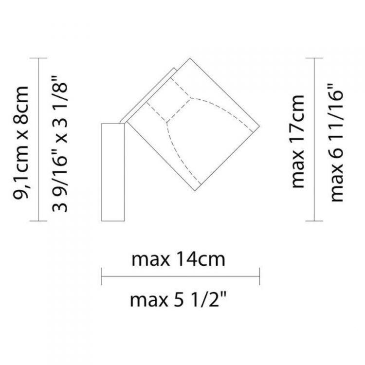 Cubetto kinkiet reflektor 1x50W GU10 230V czarny + elementy chromu