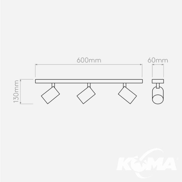 triple bar reflektory natynkowe brązowe Ascoli ASTRO