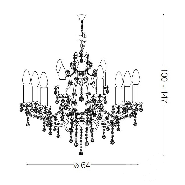 Liberty lampa wisząca żyrandol 12x40W E14 230V transparentny