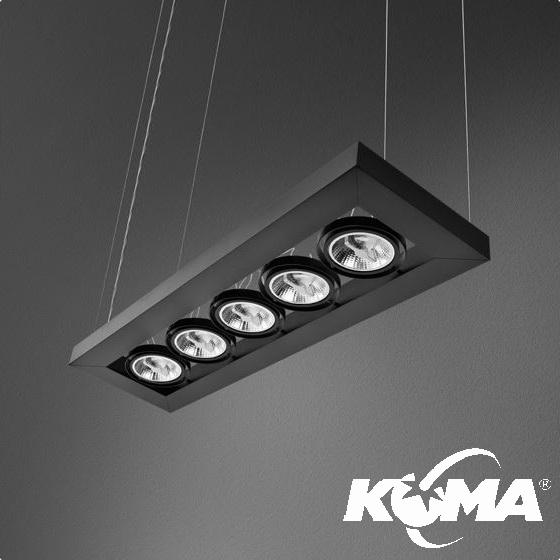 Cadva lampa wisząca czarna (mat) 5x75W AR111 230V