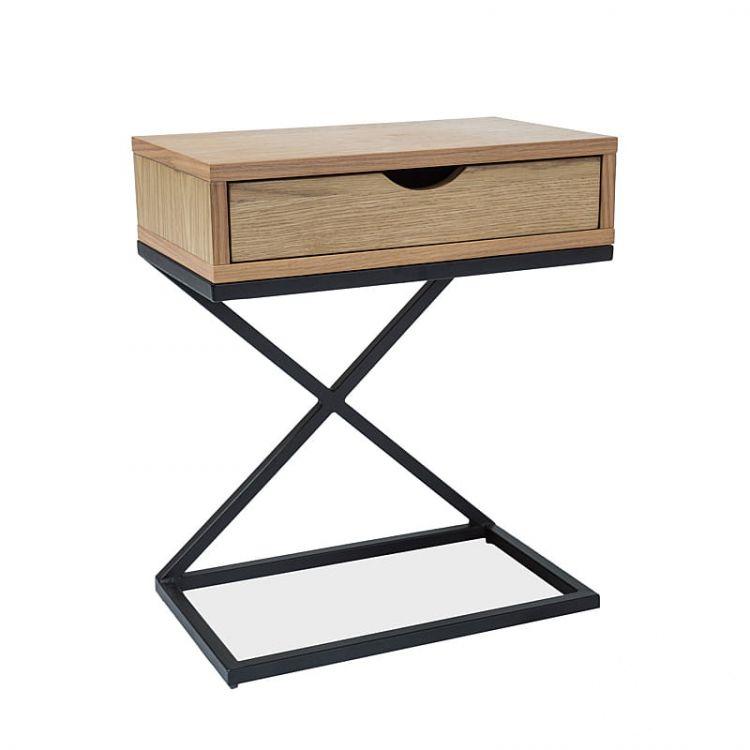 stolik z szufladą  dębowy/czarny                                  Liz_i