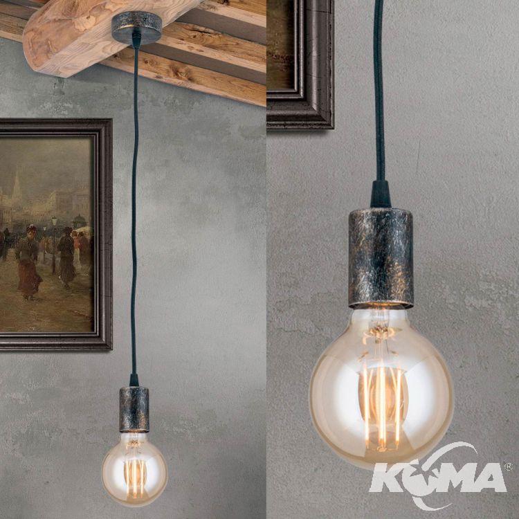Retro lampa wisząca 1x60W E27 230V antyczna