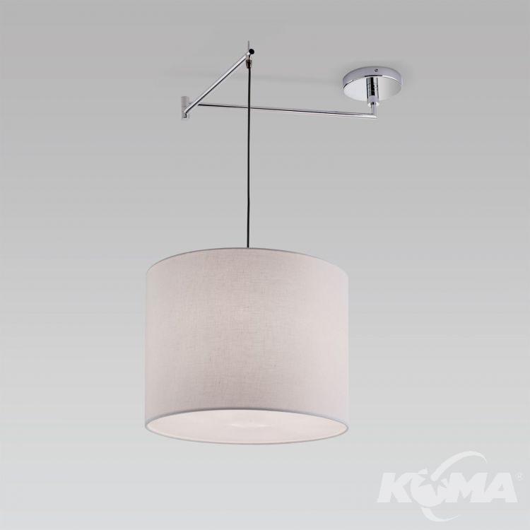 Fula lampa wisząca 1x60W E27 230V chrom/abażur lniany