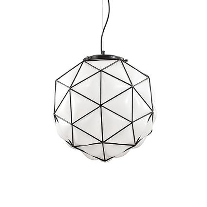 Maglie D45 lampa wisząca 1x60W E27 230V biała + czarne elementy