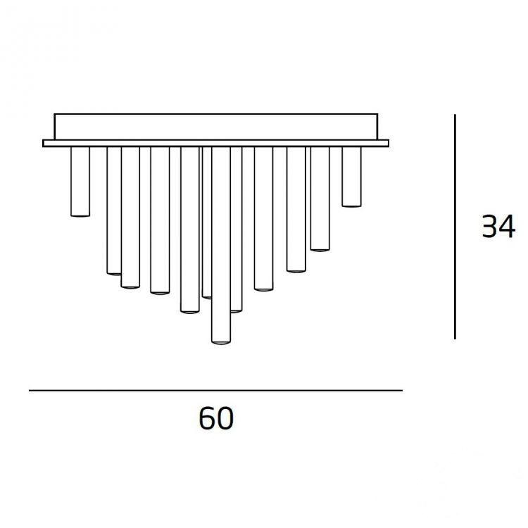 Organic plafon 33x1W LED 3000K 230V chrom