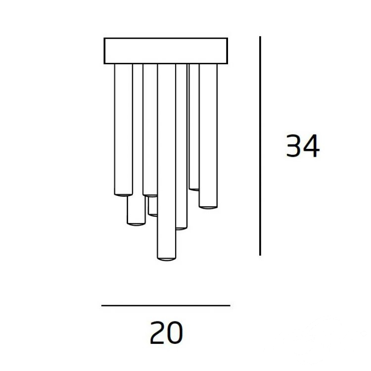 Organic plafon 10x1W LED 3000K 230V chrom